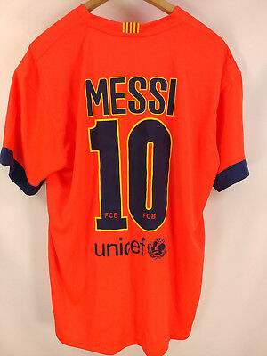 87823271850 Lionel Messi  10 FC Barcelona FCB Team Jersey Shirt Qatar Airways Mens Sz