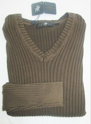 Hart Schaffner Marx Brown Ribbed V-neck L/S Fashion Pullover Sweater NWT