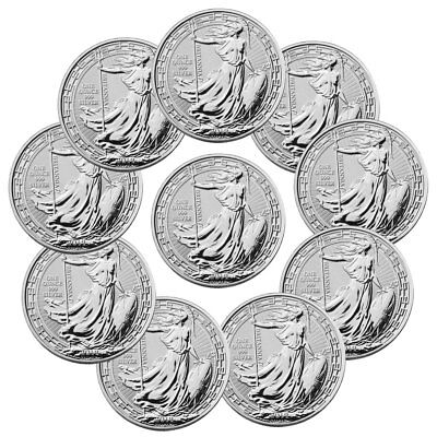 Lot of 10 2019 Britain 1 oz Silver Britannia Oriental Border £2 Coins SKU56995