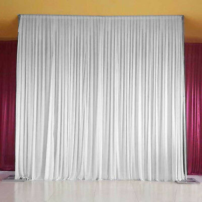 White Stage Wedding Party Backdrop Photography Background Drape Curtains 3M X 3M