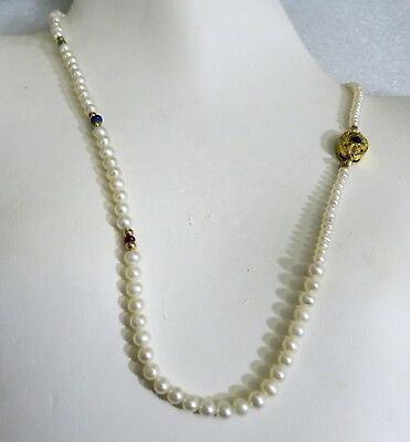 VINTAGE CHINESE REAL PEARLS RUBIES EMERALD SAPPHIRE 14kt GOLD LAYERING NECKLACE