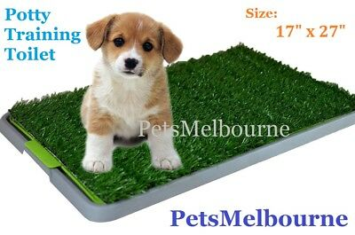 Indoor Dog Pet Potty Training Portable Toilet Large Loo Pad Tray 1/2 Grass Mat