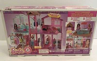 Barbie Pink Passport 3 Story Townhouse Doll House, Fully Furnished + Elevator!