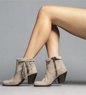 3380c6dce5add SAM EDELMAN GRAY Leather Suede Fringe Ankle Zip Boots Booties Womens ...