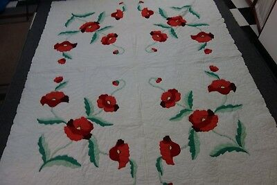 1930's Quilt-White/Huge Red Poppies- 71x89-Ornate Quilting-VG-GORGEOUS-  SALE
