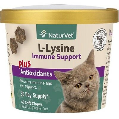 Naturvet L-Lysine Soft Chews for Cats Immune Support Eye Health 60ct