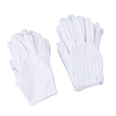 10 pair Dust Free Work Reusable Anti Static Stripe Labor Gloves White