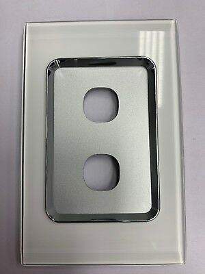 Saturn Series Clipsal 2 Two Gang Cover Plate Only Pure White 4032pbcpw