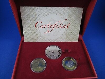 Pope John Paul II . - Boxed set of 3 coins - Sterling silver, Nordic Gold -  COA