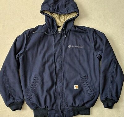 4454b86a69 Carhartt FR HRC-3 Duck Navy Lined Jacket Fire Resistant Canvas Hooded Men's  M