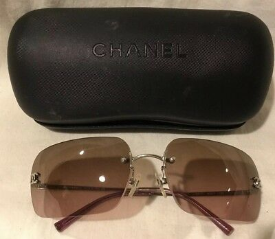 0ccffdde0527 CHANEL AUTHENTIC WOMEN'S RIMLESS SUNGLASSES 4017 c.124/77 Silver Color Logos