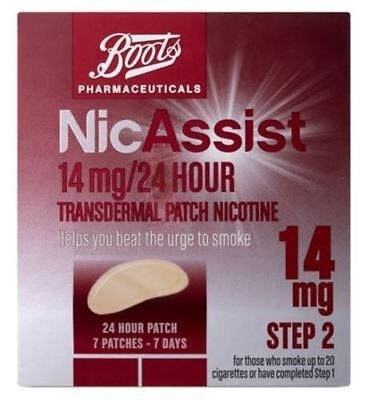 Boots NicAssist 14mg/24 Hour Transdermal Patch Nicotine Step 2 (7 Patches)
