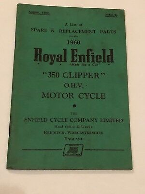 ROYAL ENFIELD 350 CLIPPER OHV  BOOK SPARES REPLACE PART HANDBOOK 1960 motorcycle