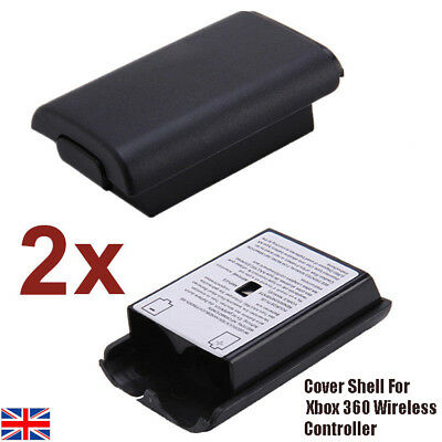 2x Black Battery Holder Pack Shell Cover For Xbox 360 Wireless Controller