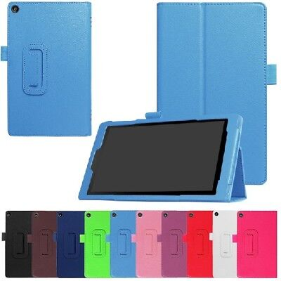 """Leather Flip Folio Case Stand Cover For Amazon Kindle Fire HD 8"""" 2017 2018"""