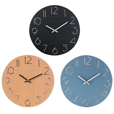 """12"""" Nordic Wall Clock Silent Round Wood Watch Living Room Office Decor Durable"""