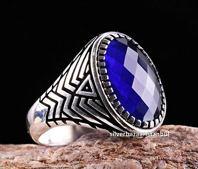 Turkish jewelry 925 Sterling Silver Solid sapphire stone Mens ring ALL SİZE 811