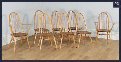 Vintage 8 Elm & Beech Ercol Quaker Windsor Stick Hoop Back Kitchen Dining Chairs