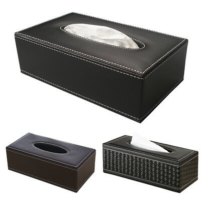 Luxury Faux Leather Household Car Tissue Box Cover Paper Napkin Holder Case AU