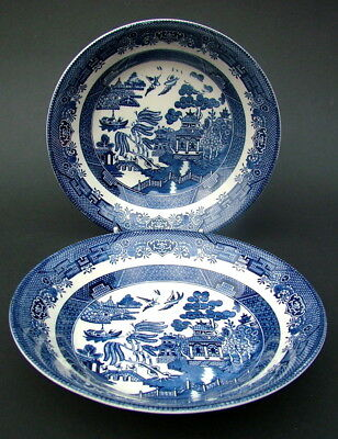 TWO Churchill Blue Willow Pattern Large Dessert Pasta Bowls 20cm - Look in VGC