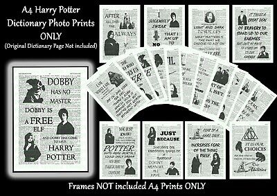HARRY POTTER Dictionary Memorabilia Quote Photo Picture Print ONLY   Wall Art A4