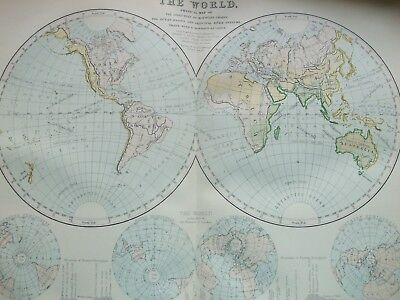 Antique Print C1870S Map Of The World Engraving Colour Ocean Basins River System