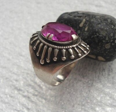 Vintage Beautiful Silver 875 Ring Large Stone Ruby USSR
