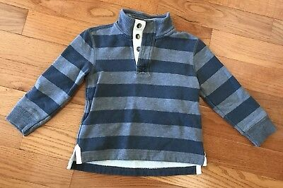 Mini Boden Boys Blue Gray Stripe Pull Over Sweatshirt Button Neck Size 3-4 Years