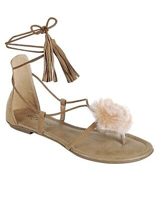 20e51ddf4c14 SOLUDOS WOMEN S TAN Leather Strappy Lace Up Tassel Tie Gladiator ...
