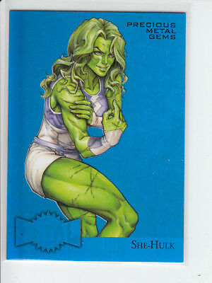 2015 Fleer Marvel Retro 1995 Metal Blaster BLUE Gem #32 She-Hulk #20/50 NM