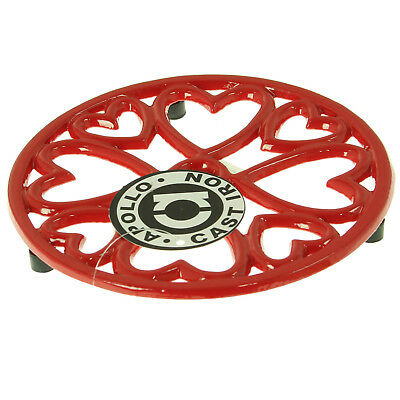 Round Kitchen Cast Iron Pot Stand Trivet Casserole Holder Table Protector Red