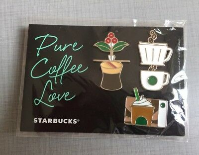 2018 Starbucks Thailand Pure Coffee Love Pin Set of 3 Pins - Cup Frappucino Card
