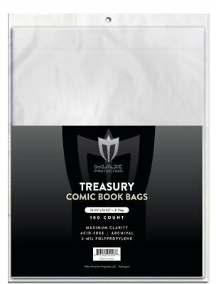 100 Max Treasury Comic Book 2-Mil Archival Poly Bags + Acid Free Backer Boards