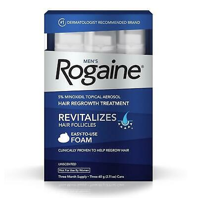 NEW Rogaine Mens Regrowth Foam 5% Unscented 3mo Supply Minoxidil Hair Treatment