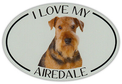 Oval Dog Breed Picture Car Magnet - I Love My Airedale (Terrier) - Sticker