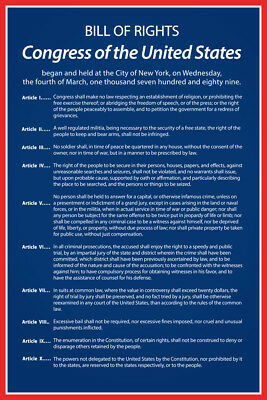 Bill of Rights of The United States of America Historical Poster 12x18 inch