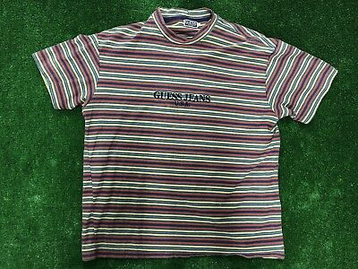 VINTAGE GUESS JEANS USA Spell Out Shirt Navy Tonal Mens M