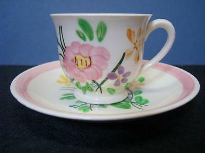 Vintage Demitasse Tea Cup and Matching Saucer w/ Floral Pattern - Stamped PV