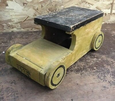 Vintage Handmade Wooden Flat-Top Toy Car