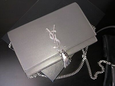 0a2049aa28fb NEW Auth Saint Laurent Kate Monogram YSL Tassel Wallet On Chain Bag Asphalt  Gray