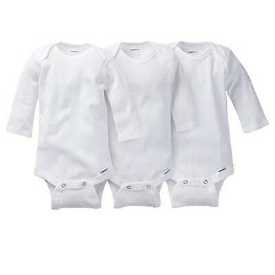 Gerber Baby Unisex 3-Pack Organic Cotton Long Sleeve Onesies Size 0-3M