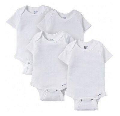 Gerber Baby Unisex 4-Pack Organic Cotton Short Sleeves White Onesies Size 12M
