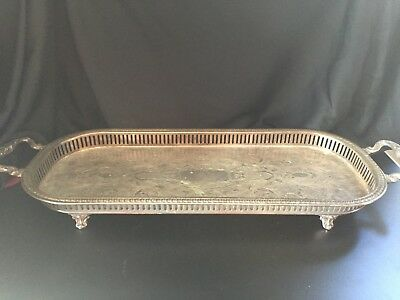 Ornate Silverplate Sheridan Tray  1920s to 1940s SILVER PLATE Hallmarks -