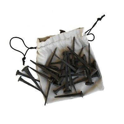 """Cut Nails Hand Crafted Wrought Iron Bag of 24 Two Sizes 3"""" and 2"""" Hammered Head"""