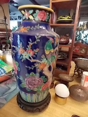 Antique Tall Japanese Hand Painted Vase  EXCELLENT CONDITION