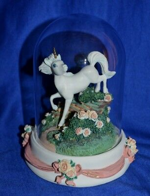 """~ The Franklin Mint """"Unicorn of Enchantment"""" Figurine Under Glass Dome ~"""