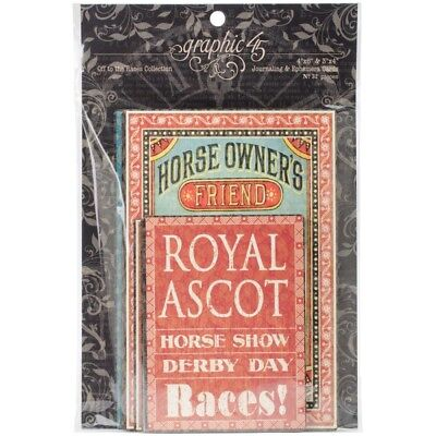 "G45 - Off To The Races - Journaling & Ephemera Cards 4""X8"" 32/Pkg"