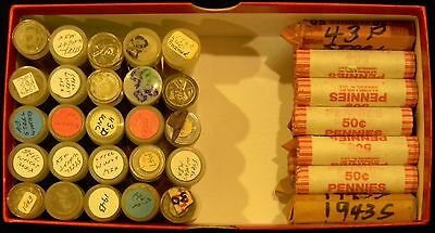 1943-D Roll of 50 Lincoln Steel Cents/Pennies Circulated, with Minor Problems