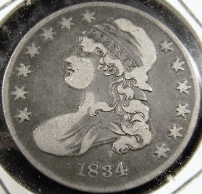 1834 Capped Bust Half Dollar 50C, Overton 114, R1 Small Date&letters, Very Fine