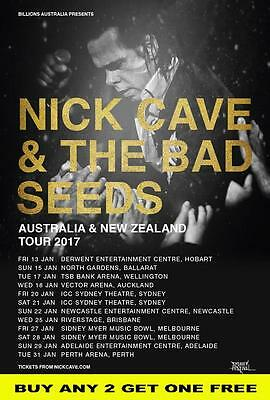 NICK CAVE AND THE BAD SEEDS 2017 Australian Laminated Tour Poster